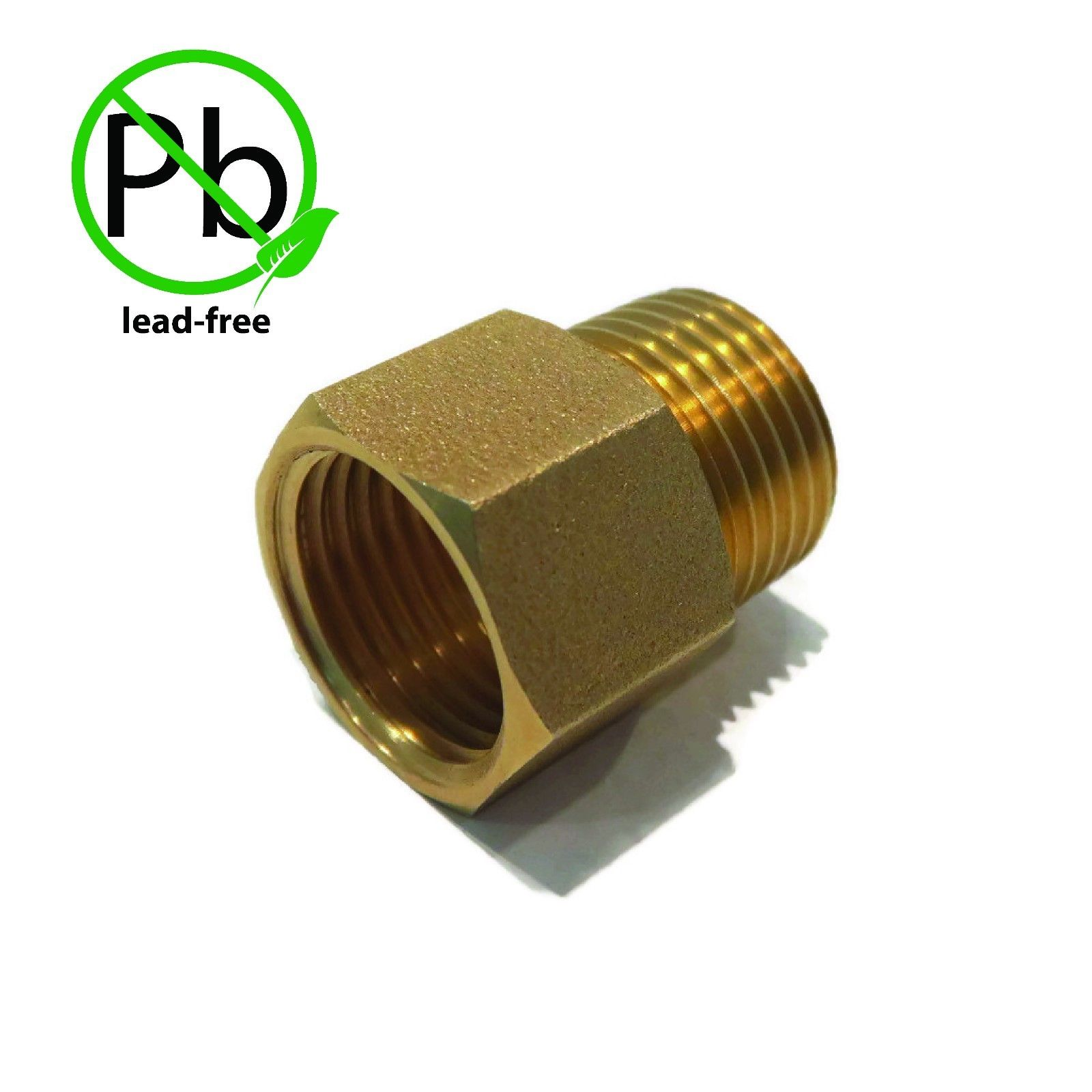 "BRASS LEAD FREE STRAIGHT PIPE FITTING ADAPTER 1/2"" MALE NPT x 1/2"" FEMALE NPT by The ROP Shop"
