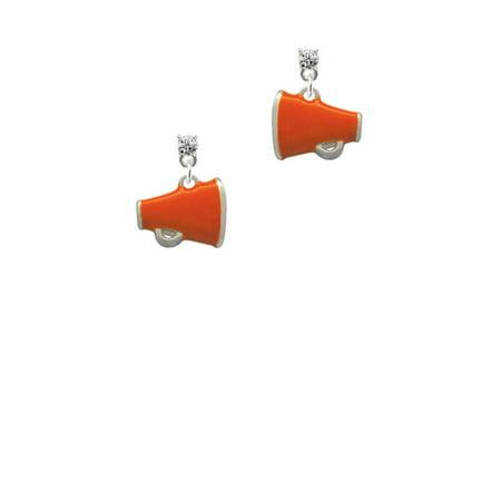 Silvertone Small Orange Megaphone Clear Crystal Post Earrings - Orange Megaphone