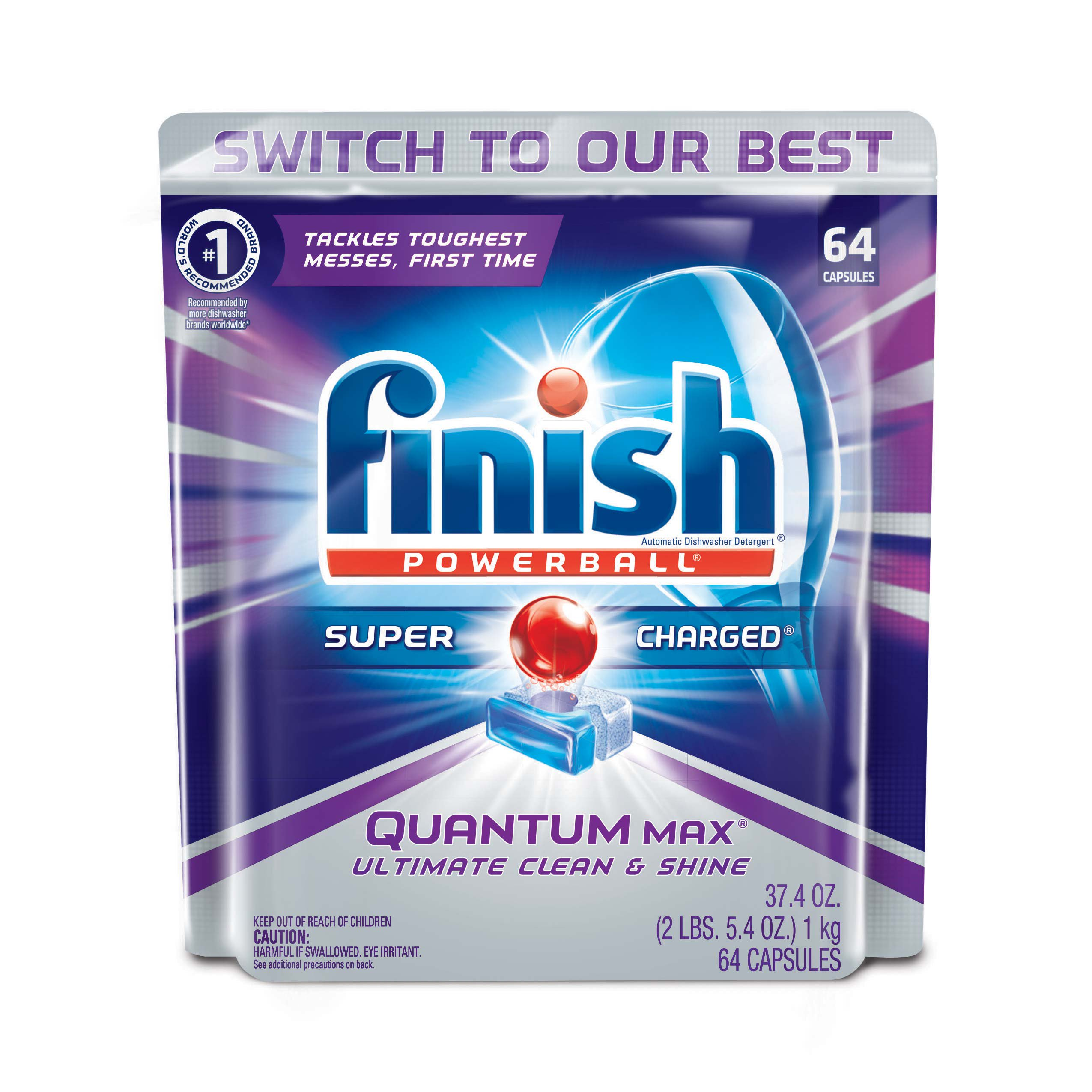 Finish Quantum Max Powerball Dishwasher Detergent Tablets, 64 Count