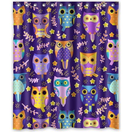 GreenDecor Owls Waterproof Shower Curtain Set with Hooks Bathroom Accessories Size 60x72 inches ()