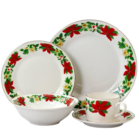Poinsettia Holiday 20 pc Dinnerware Set - Rim Decorated - Fine Ceramic Holiday Entertaining Set