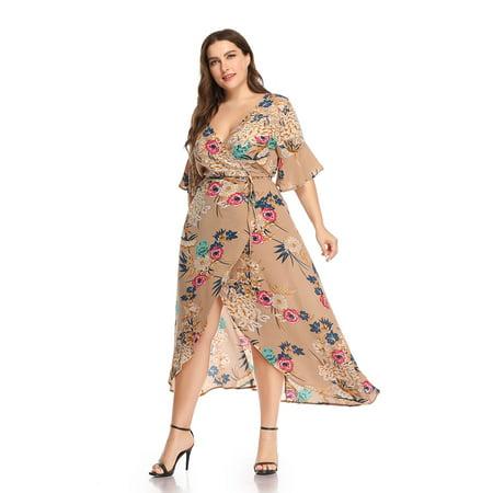 Kenancy Womens Plus Size Boho Floral Print Flare Sleeve Tulip (Tulip Sleeve Dress)