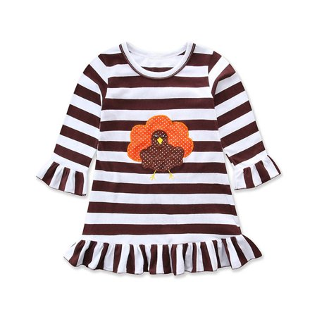 Turkey Outfit (Happy Thanksgiving Toddler Baby Girl Turkey Print Dress Stripe Sundress)