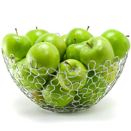 Chrome Flower Fruit Bowl Holder Steel Wire Basket Kitchen by Spectrum