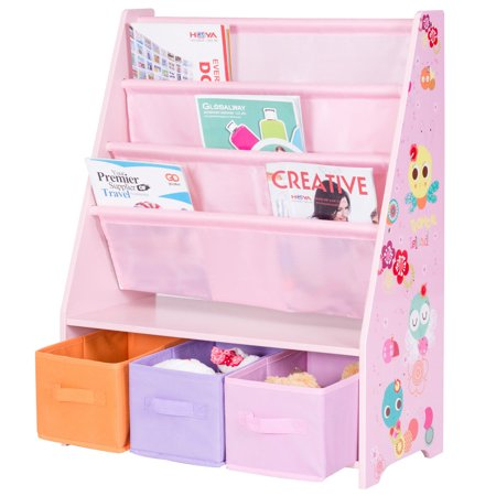 Costway Kids Sling Bookshelf Bookcase And Toys Organizer Shelves W 3 Free Storage Boxes