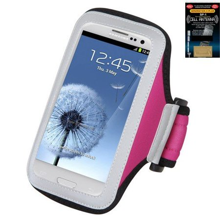 Premium Sport Armband Case for LG Lucid Hot Pink + Cell Phone Antenna Booster, Carry your phone whenever you're on the go with the Lifestyle Armband.., By MyNetDeals,USA