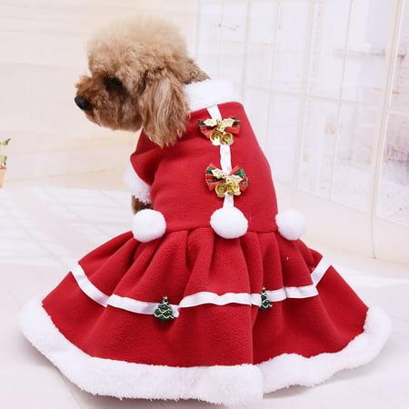 【LNCDIS】Pet Dog Dress Solid Color Christmas Coat Sweatshirt Vest Pets Cat Warm ()