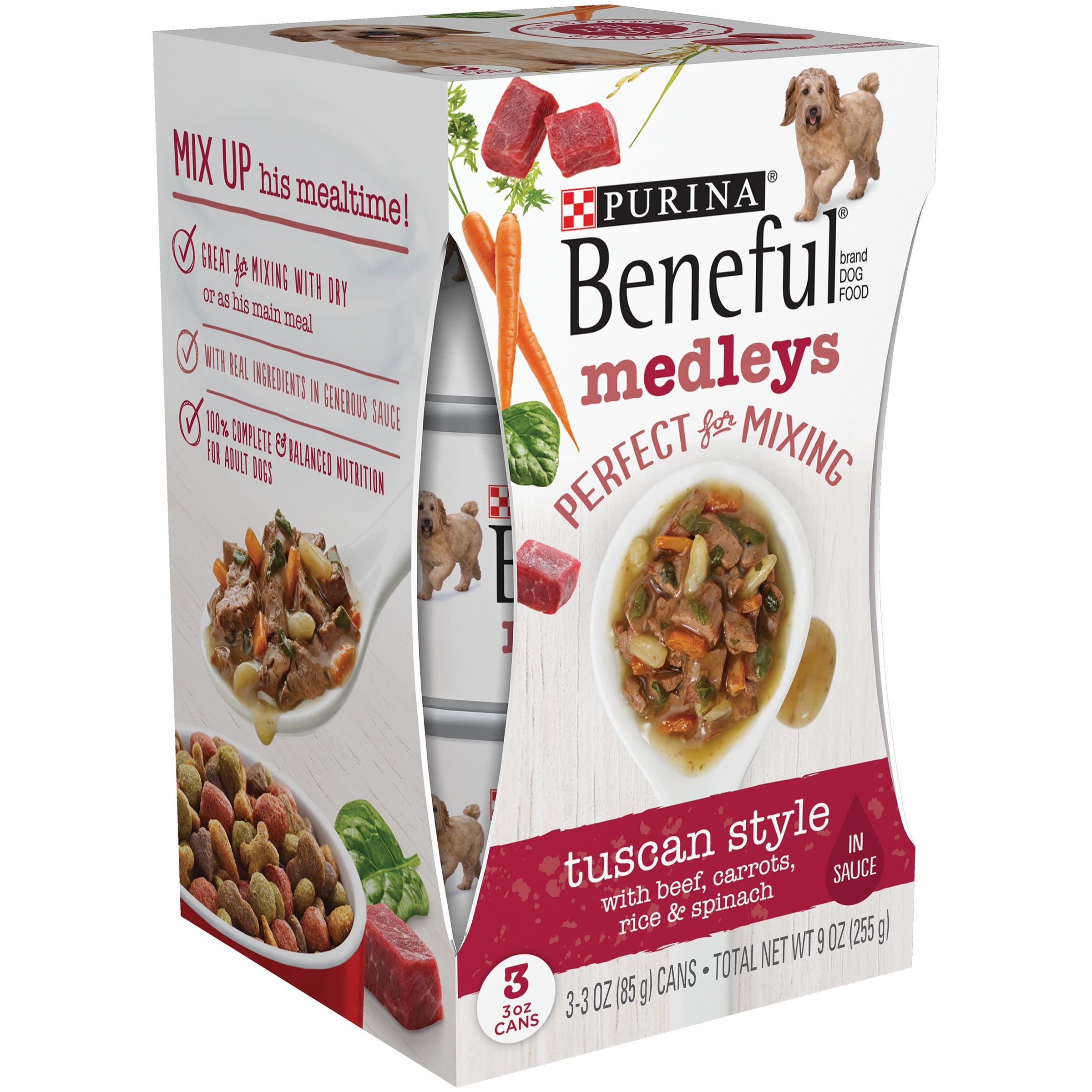 Purina Beneful Tuscan Style Medleys Dog Food 3-3 oz. Cans