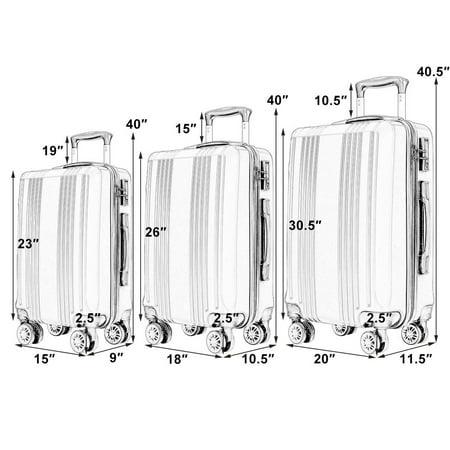 "Costway 3Pc Luggage Set 20"" 24"" 28"" Travel Trolley Suitcase w/TSA Lock Spinner - image 3 of 10"
