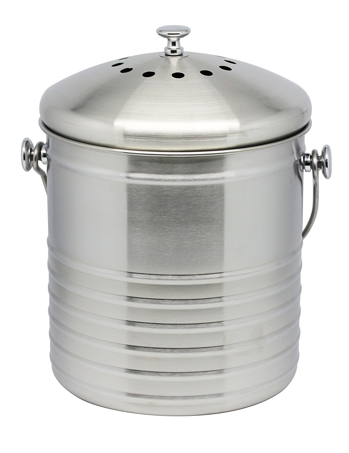 cedar grove 18g stainless steel em kitchen compost bin includes 1 charcoal filter and