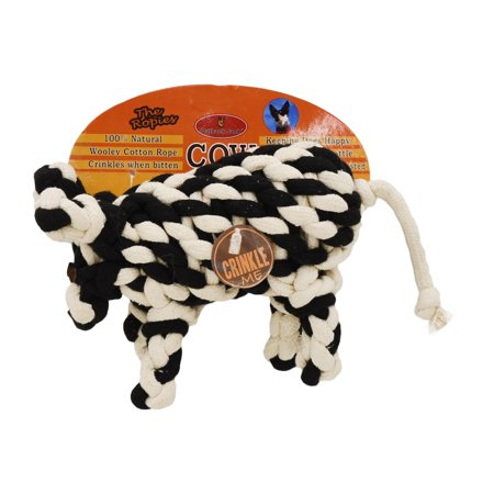 Outback Jack Wooley Cotton Rope Dog Toy, Cow-shaped