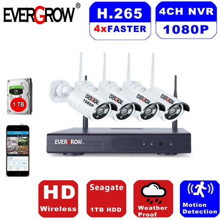 Advanced H265+ Technology 4 Channel 1080p Wireless Smart Security Hub with 4 x 1080p Infrared IP Cameras and 1 TB HDD (CAM-WIFI-4CH-2MP)