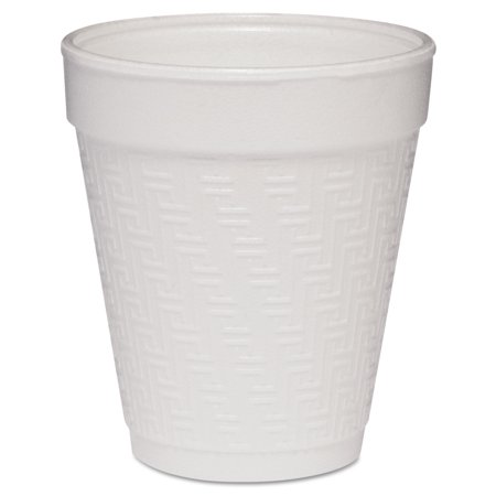 Dart Small Foam Drink Cup, 8oz, Hot/Cold, White w/Greek Key Design, 25/Bag, 40Bg/Ctn -DCC8KY8 Dart Big Drink Cup