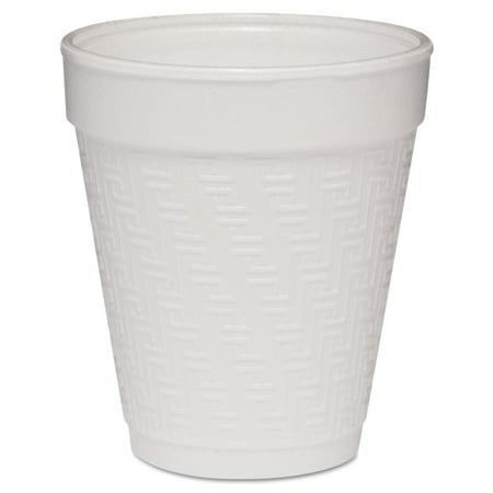Dart Small Foam Drink Cup, 8oz, Hot/Cold, White w/Greek Key Design, 25/Bag, 40Bg/Ctn -DCC8KY8 Dart Dart Foam Cup