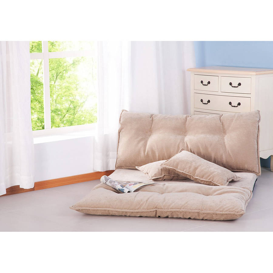 Merax Fabric Foldable Floor Sofa/Bed Adjustable Futon with Two Pillows