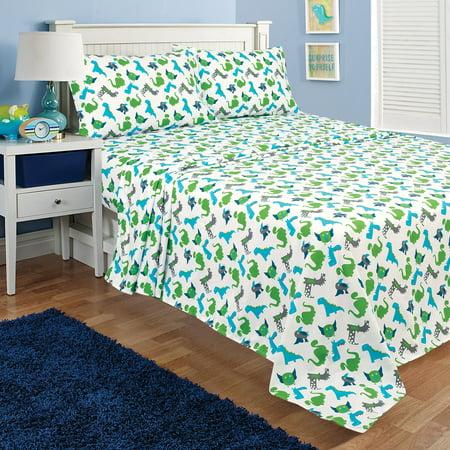 Kidz Mix Blue & Green Dinosaurs Kids Bed Sheet Set, Multiple Sizes ()