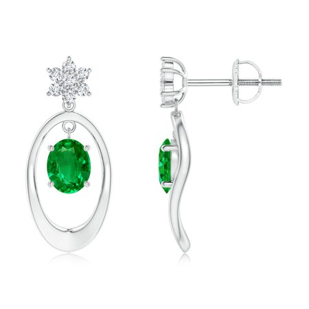 Black Friday Sale - Oval Framed Emerald Earrings with Diamond Floral Accent in 14K White Gold (5x4mm Emerald) - SE1093ED-WG-AAAA-5x4