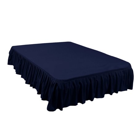Pleated Bed Skirts Polyester Solid Dust Ruffle 14 Inch Drop Navy Blue, 40 - image 1 de 8