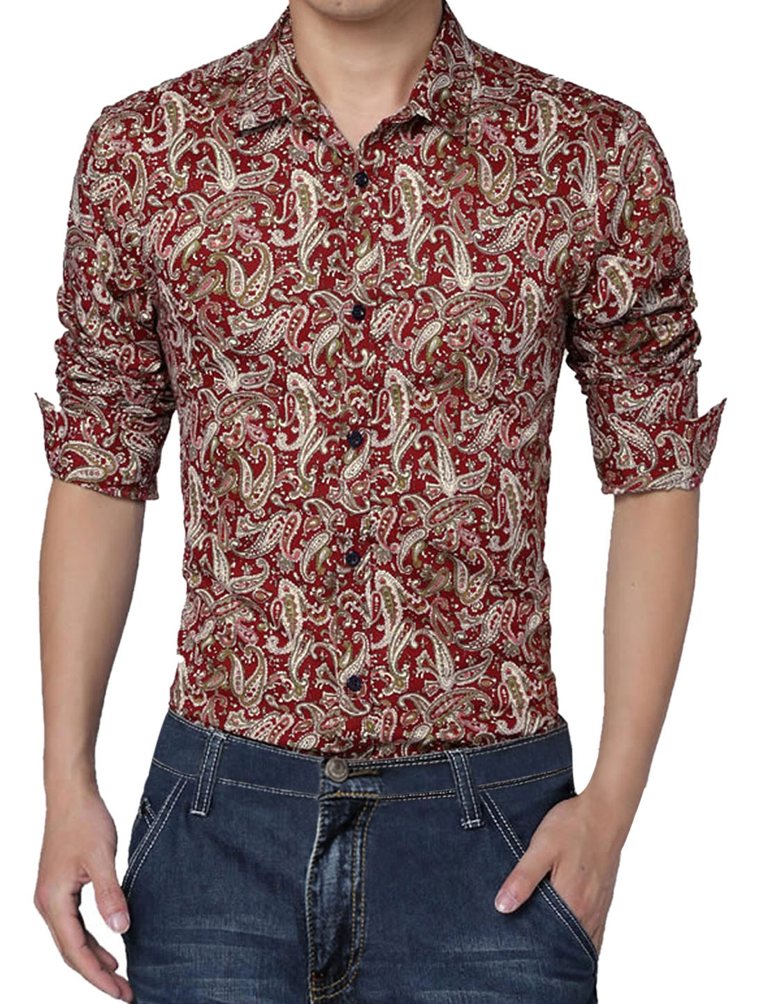 Unique Bargains Men's Printed Slim Fit Button Up Shirt Red (Size L / 42)