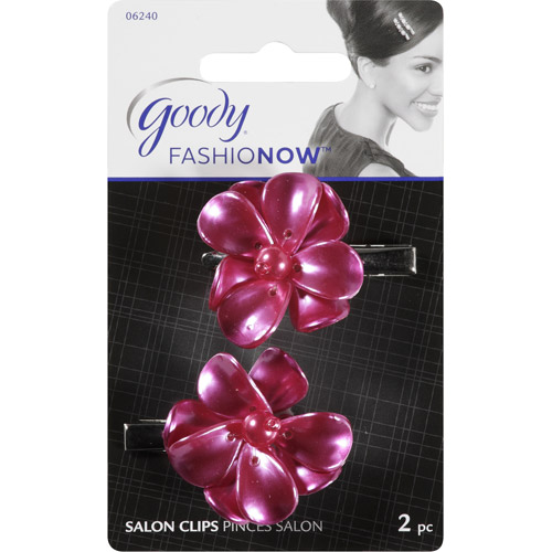 Goody FashioNow Shell Flower Hair Clips, Pink, 2 count