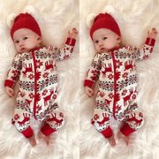 Newborn Toddler Baby Boys Girls Xmas Zipper Romper Jumpsuit Outfit Clothes Set