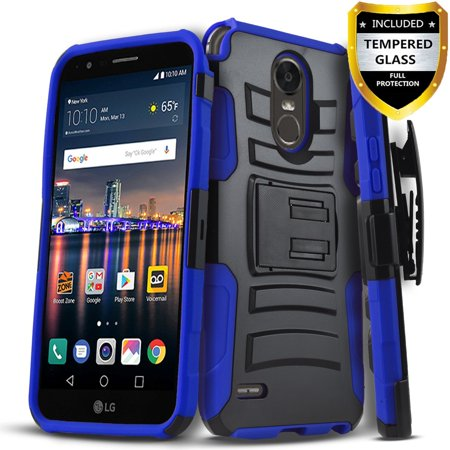 LG K30 Case, LG K10 2018 Case, Dual Layers [Combo Holster] And Built-In Kickstand Bundled with [Temerped Glass Screen Protector] Hybird Shockproof And Circlemalls Stylus Pen (Klick Glasses)
