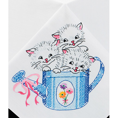 Tobin Kittens Stamped Tablecloth For Embroidery