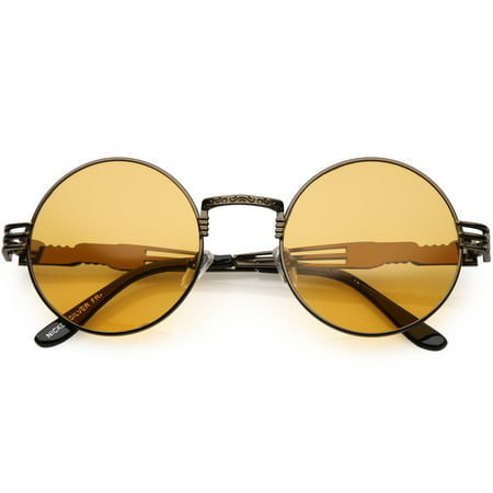 Oversize Round Sunglasses Engraved Metal Arm Cutout Color Tinted Lens 53mm (Bronze / (Tinted Bronze Lens)