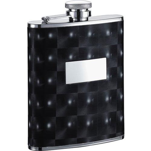 Visol  Chase Black Checkered Pattern Liquor Flask - 6 ounces