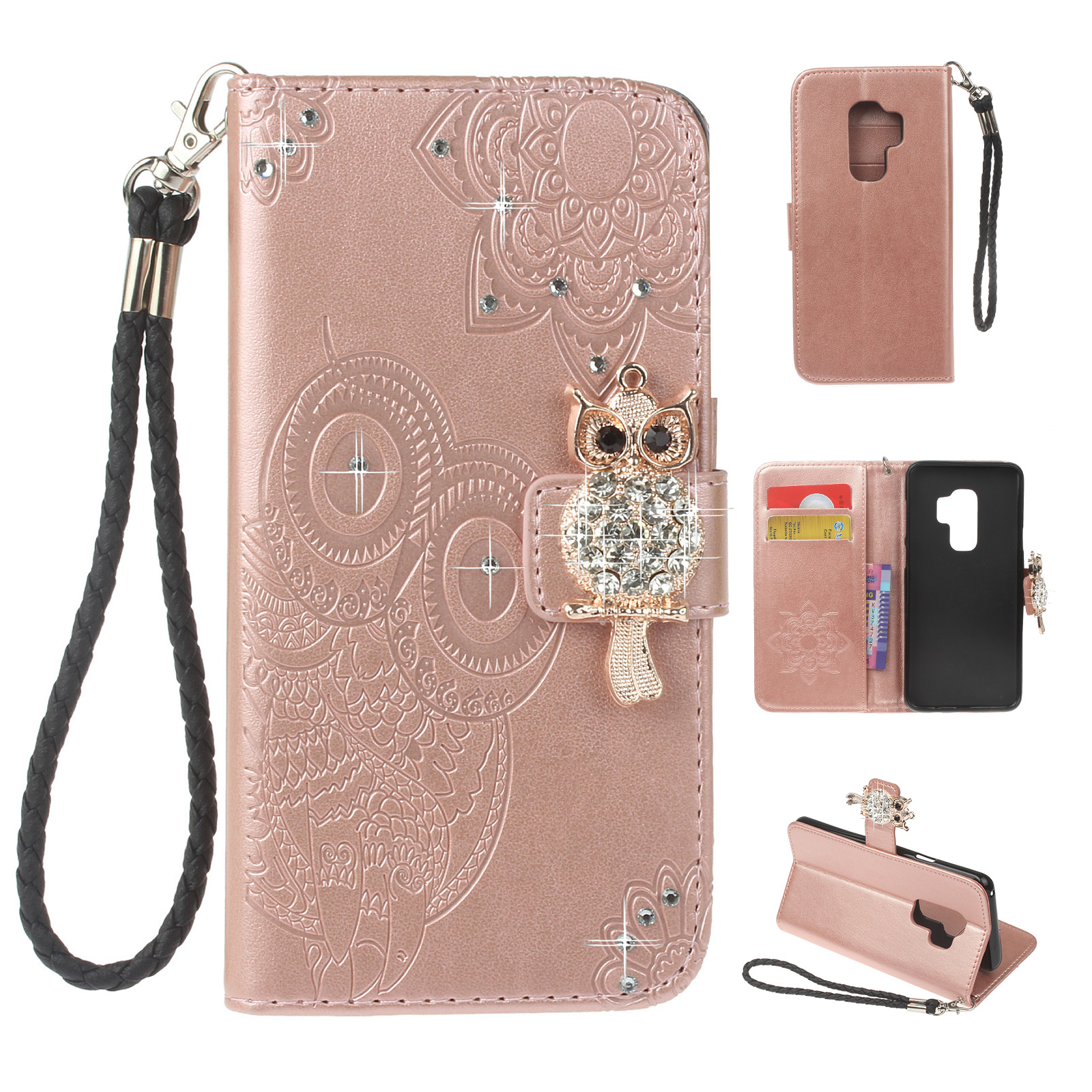 Leather Cover Compatible with Samsung Galaxy S9 Plus Premium owl Wallet Case for Samsung Galaxy S9 Plus