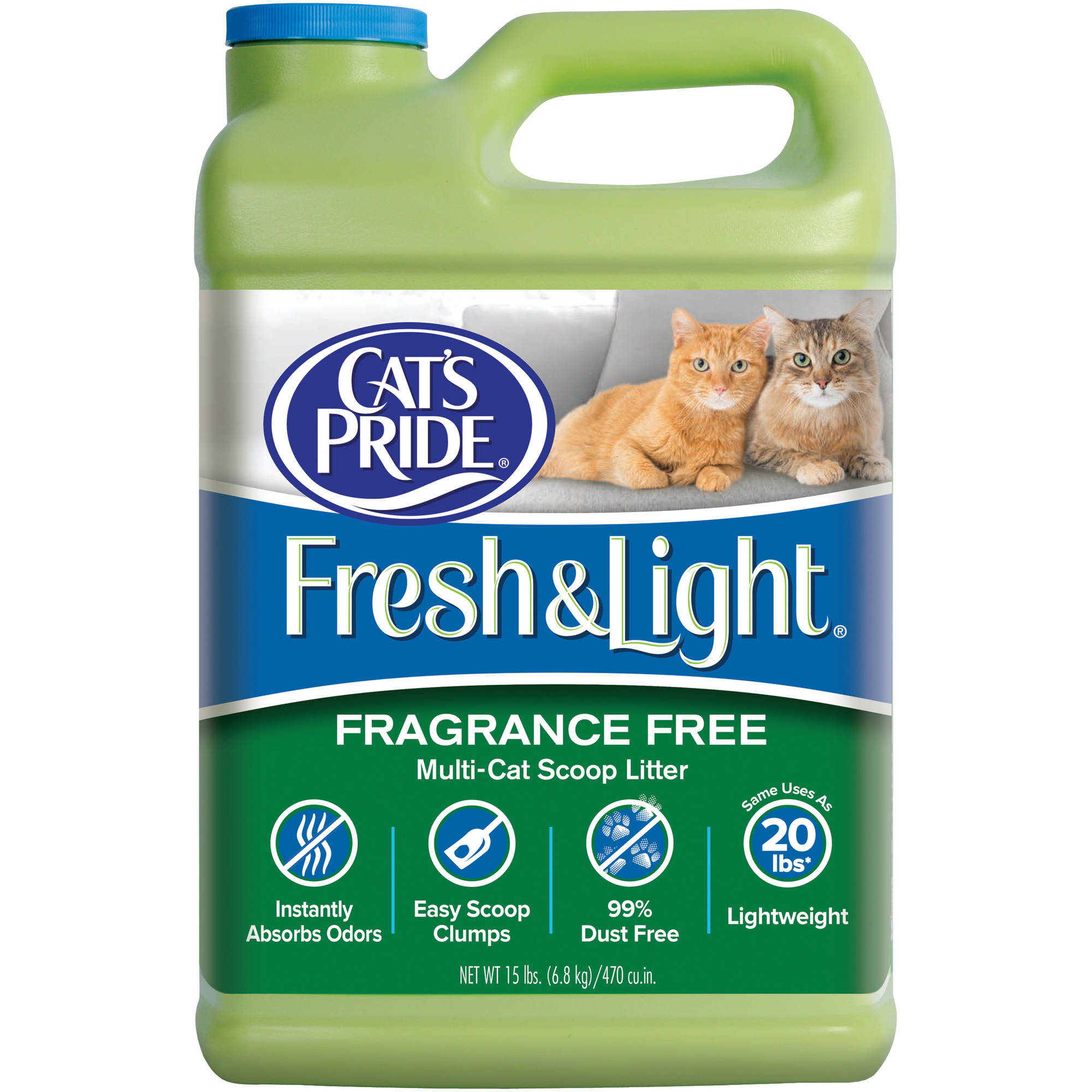 Cat's Pride Fresh & Light Premium Clumping Fragrance-Free Scoopable Cat Litter, 15 lb