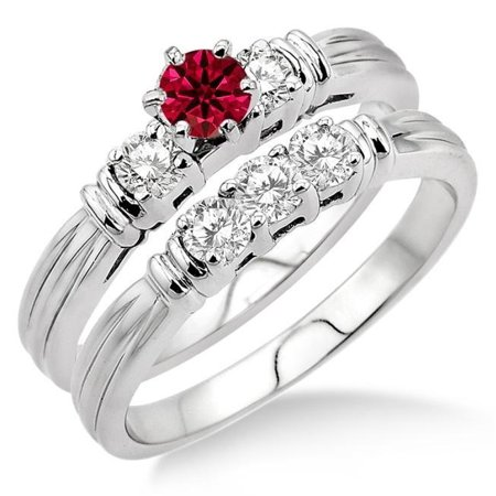 Ruby Wedding Set (1.5 Carat Round Cut Real Ruby and Diamond Bridal Wedding Ring Set with Engagement Ring and Wedding Band in 18k Gold Over)