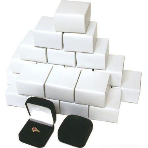 - 24 Black Flocked Square Ring Gift Boxes Jewelry Display