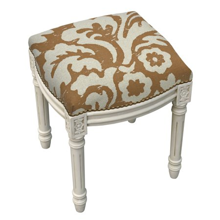 Pleasing 123 Creations Jacobean Foam Linen Wood Floral Antique White Finish Nail Head Accented Vanity Stool Alphanode Cool Chair Designs And Ideas Alphanodeonline