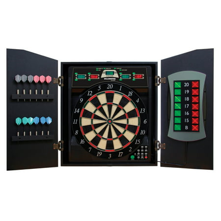 Bullshooter Cricket Maxx 5.0 Electronic Dartboard Cabinet Set Includes 6 Steel Tips, 6 Soft Tips, Extra Tips, and AC (Best Soft Tip Dart Board)