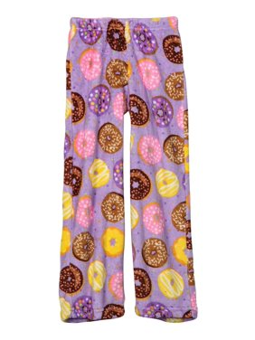 Up Past 8 Big Girls'  Fuzzy Pajama Pant, Donuts, Size: 2