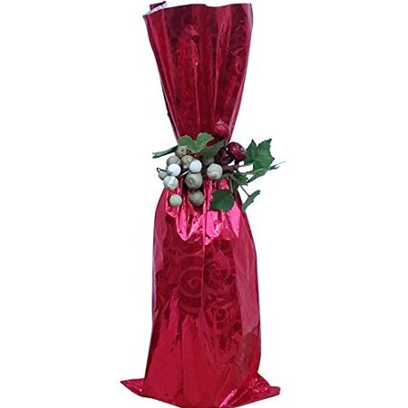 100 / Metallic RED Mylar bag - Wine bottle Gift Bags, 6 1/2