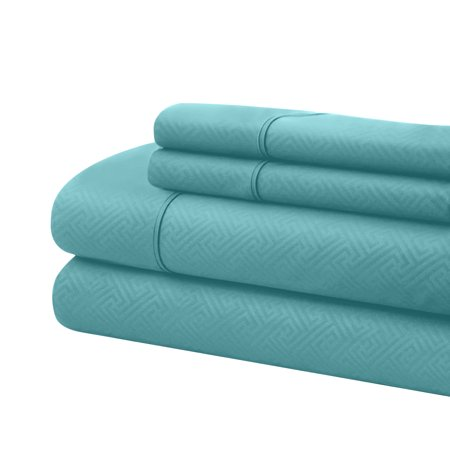 Bassano 1800 Series Embossed Deep Pocket Sheet Set - Super Soft & Wrinkle Free - Luxurious Bed Sheets Set (California King, Aqua) ()