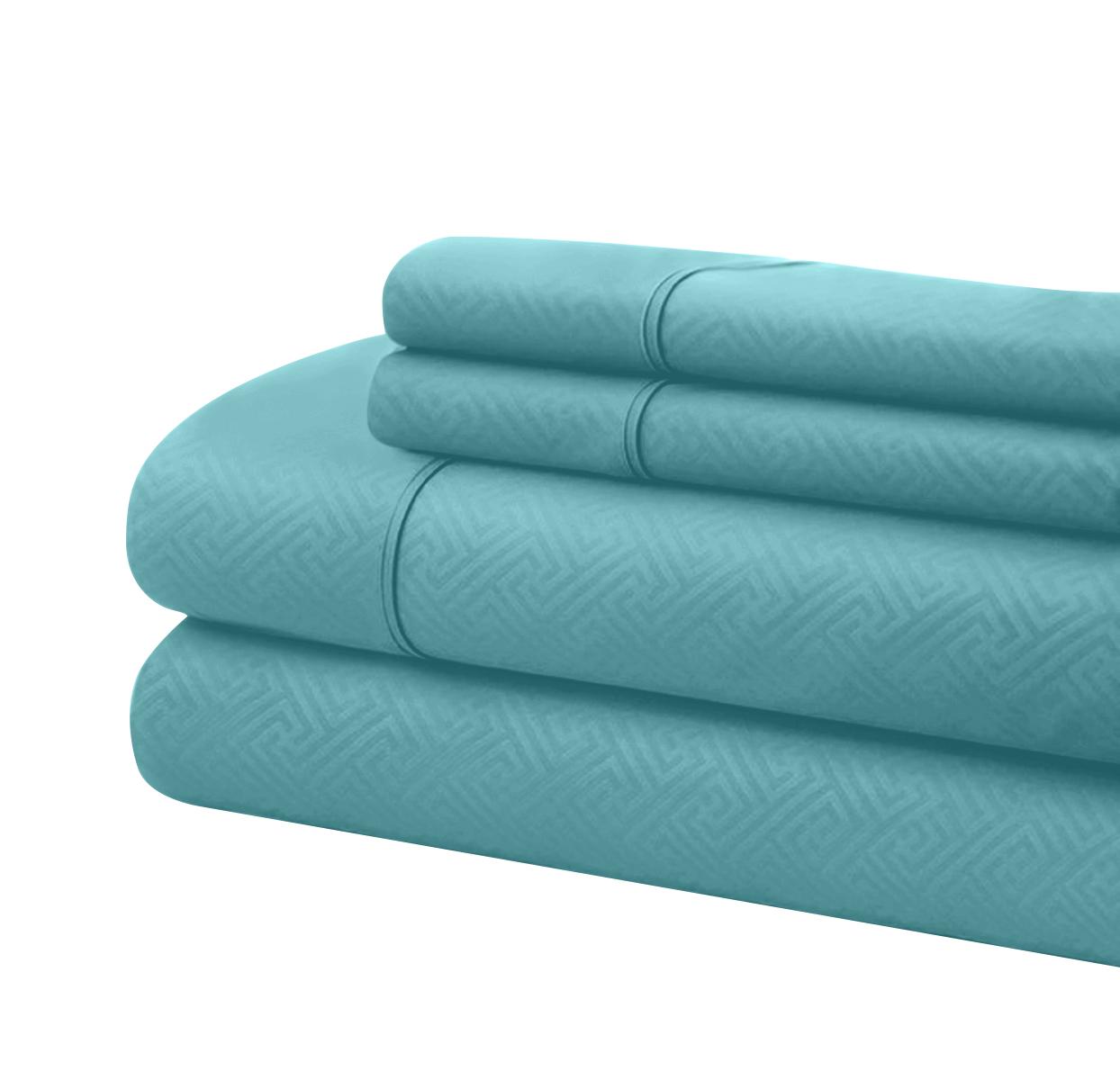 Bassano 1800 Series Embossed Deep Pocket Sheet Set - Super Soft & Wrinkle Free - Luxurious Bed Sheets Set (California King, Aqua)