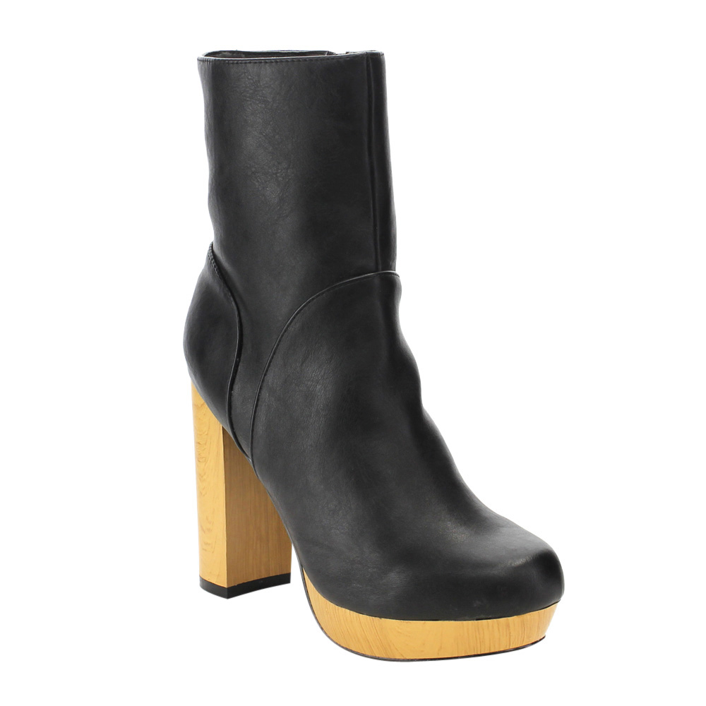 C LABEL AE37 Women's Side Zipper Platform Blog Chunky Hee...