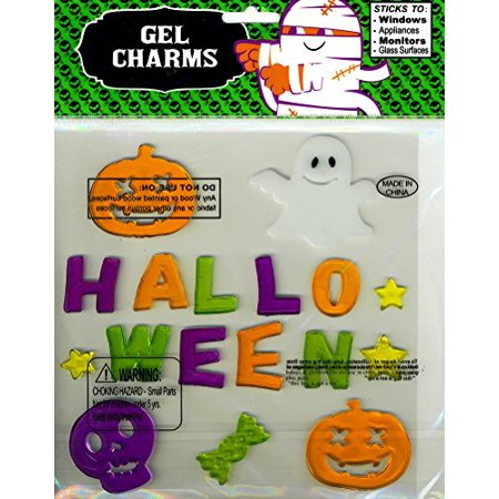Multicolored Word Halloween and Ghost Skull Jack-O-Lanterns Gel Window Clings