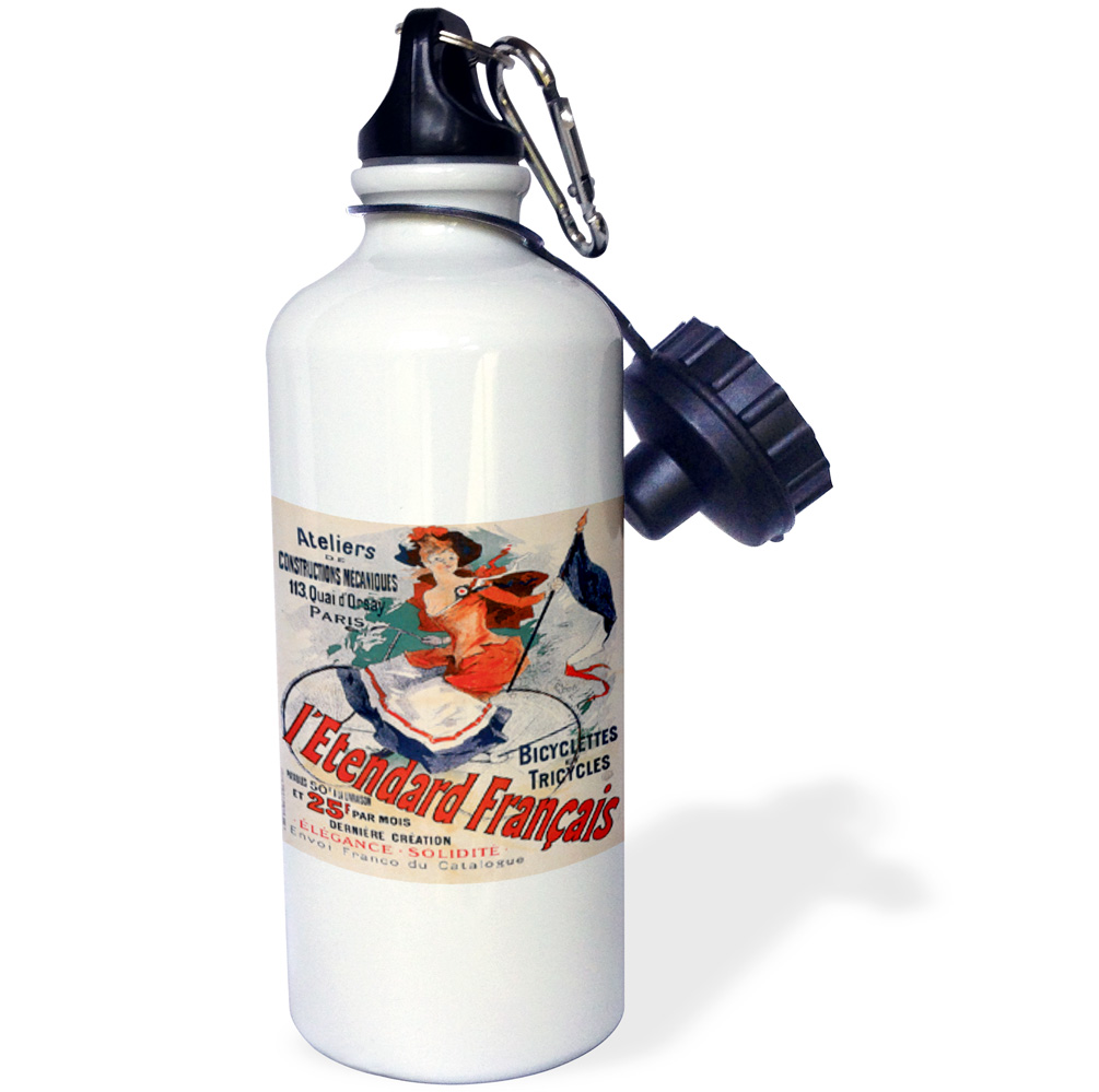 3dRose Ateliers Bicyclettes et Tricycles Paris France Bicycle Advertising Poster, Sports Water Bottle, 21oz