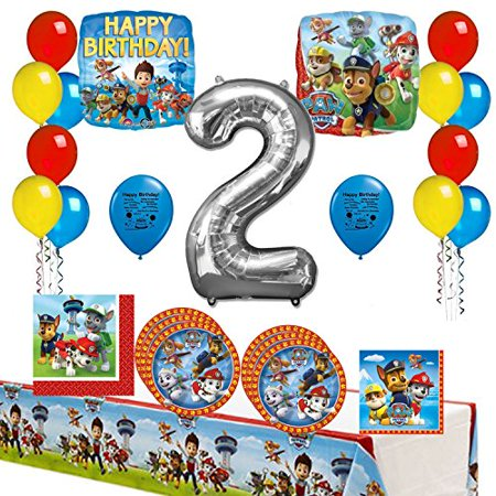 Paw Patrol Happy 2nd Birthday Party Supply And Balloon Bundle