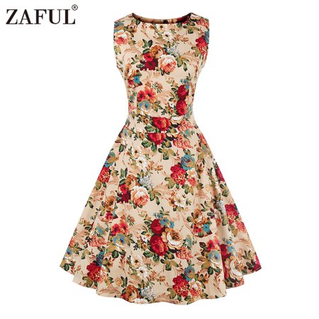 New Summer Hepburn Style Retro Floral Print Dress Womens Round Collar Sleeveless Full Circle Figuring Vintage Dress with