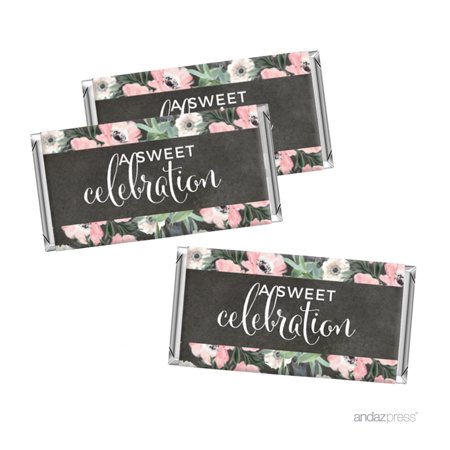 Peach Chalkboard Floral Garden Party Wedding Collection, Chocolate Minis Labels Party Favors, 36-pack
