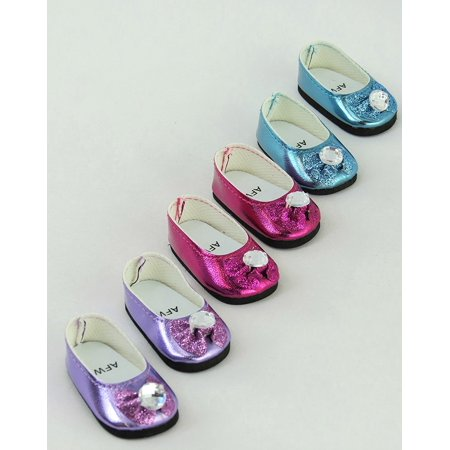 3 Pack of Metallic Diamond Bow Flats: Hot Pink, Lavender, and Teal | Fits 14