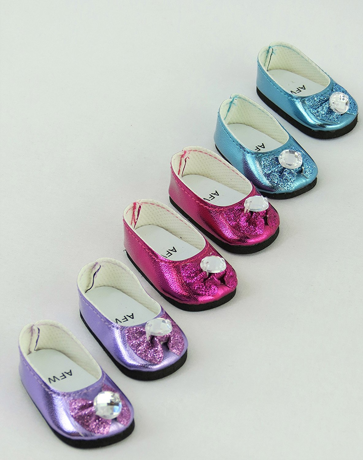 """3 Pack of Metallic Diamond Bow Flats: Hot Pink, Lavender, and Teal 