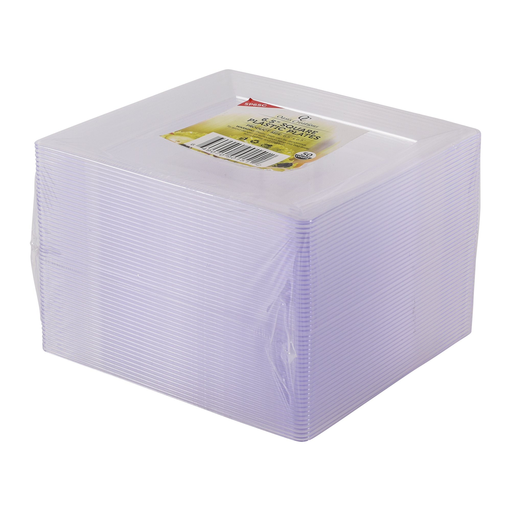 Clear Square Plates 50 x 6.5  Set By Oasis Creations - Hard Plastic - - Washable u0026 Reusable Case of 400  sc 1 st  Walmart.com & Clear Square Plates 50 x 6.5