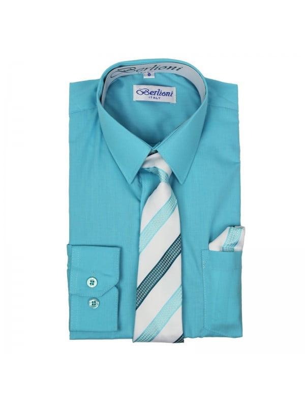 Berlioni Italy Kids Boys Italian Long Sleeve Dress Shirt With Tie /& Hanky Teal