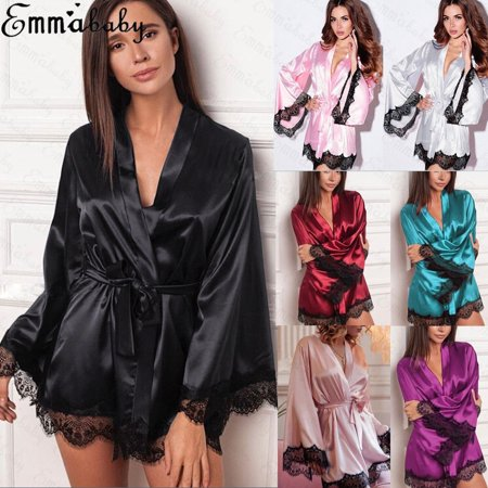 Kimono Dressing Gowns - Sexy Bride Long Women Lace Floral Kimono Robe Satin Silk Night Dressing Gown